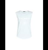 Balmain Balmain sleeveless top with velvet logo light blue