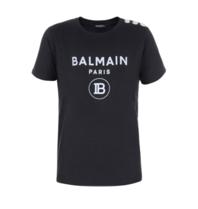 Balmain Balmain Top mit kurzen Ärmeln und Samtlogo schwarz