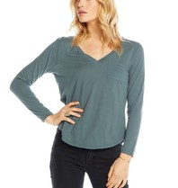 Chaser Chaser top with long sleeves and pocket blue green