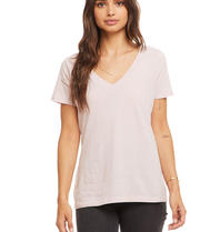 Chaser T-shirt with short sleeves and v-neck pink