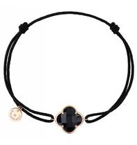 Morganne Bello koord armband met Onyx  klaver steen geelgoud zwart