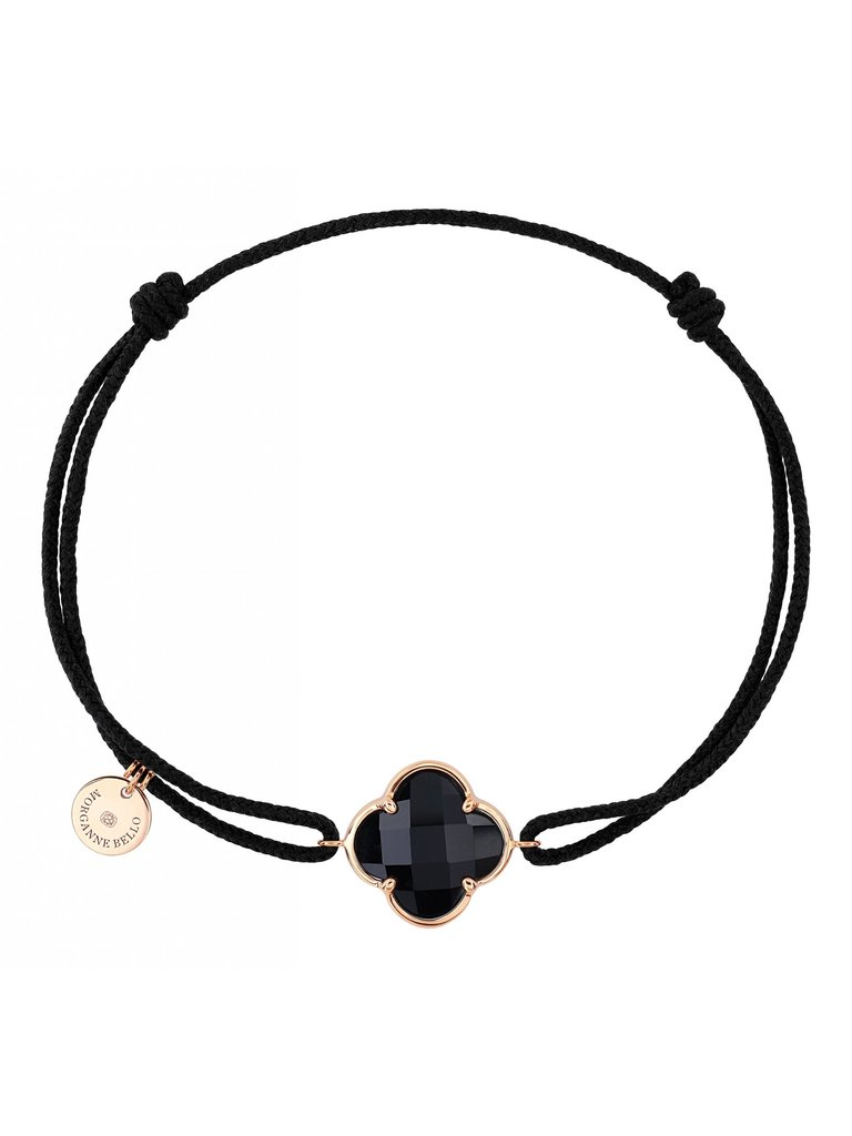 Morganne Bello Morganne Bello cord bracelet with Onyx clover stone yellow gold black