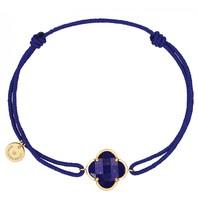 Morgan Bello cord bracelet with Lapis Lazuli clover stone yellow gold dark blue