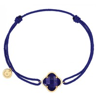 Morgan Bello koord armband met Lapis Lazuli  klaver steen geelgoud donkerblauw
