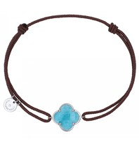 Morganne Bello cord bracelet with Amazonite clover stone white gold taupe