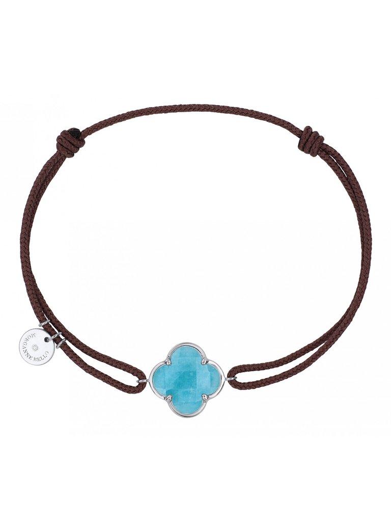 Morganne Bello Morganne Bello koord armband met Amazonite  klaver steen witgoud taupe
