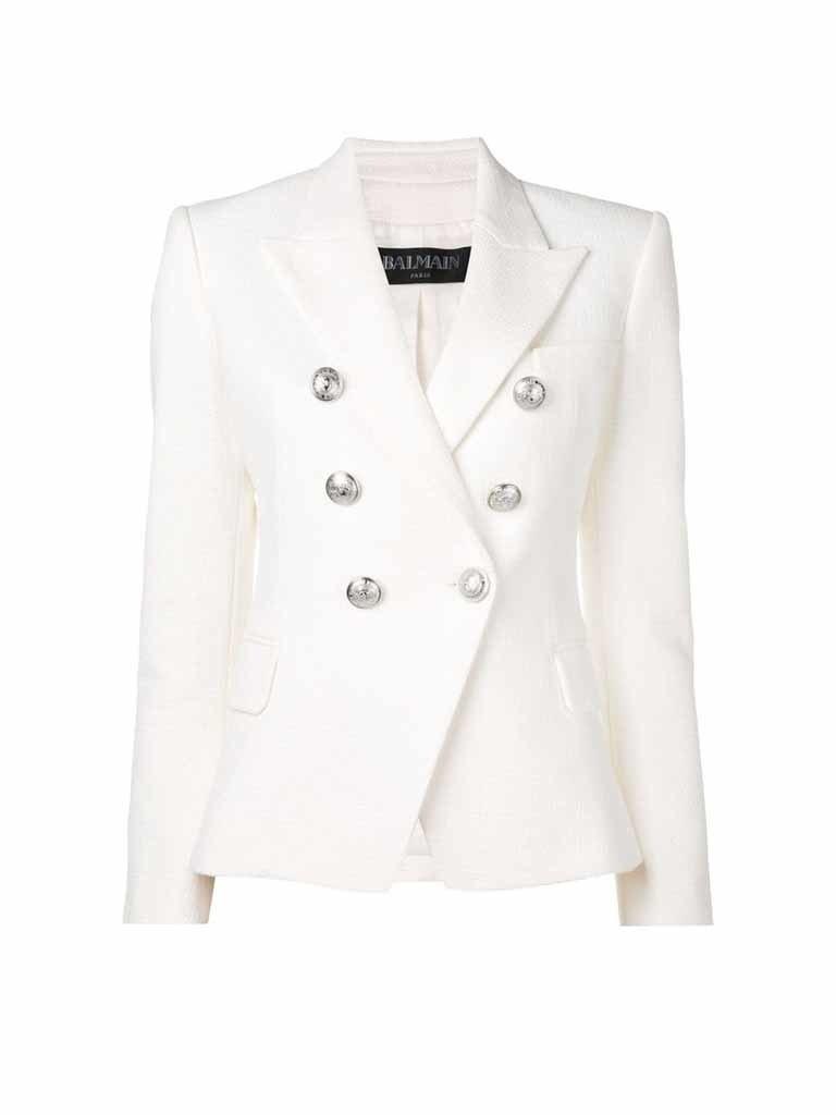 Balmain blazer met zilveren knopen wit