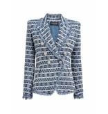 Balmain Balmain tweed blazer met double-breasted knopen blauw wit