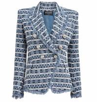 Balmain tweed blazer met double-breasted knopen blauw wit