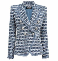 Balmain tweed blazer with double-breasted buttons blue white