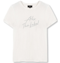 Alix The Label Besticktes T-Shirt mit Logo in Weiß
