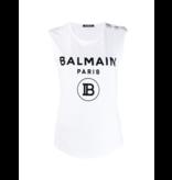Balmain Balmain mouwloze top met velvet logo wit