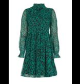 Freebird Katie leopard mini jurk met ruffles groen