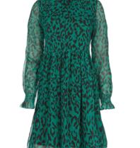 Freebird Katie leopard mini dress with ruffles of green