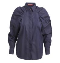 Britt Sisseck Felipa blouse met puffed sleeved gestreept donkerblauw