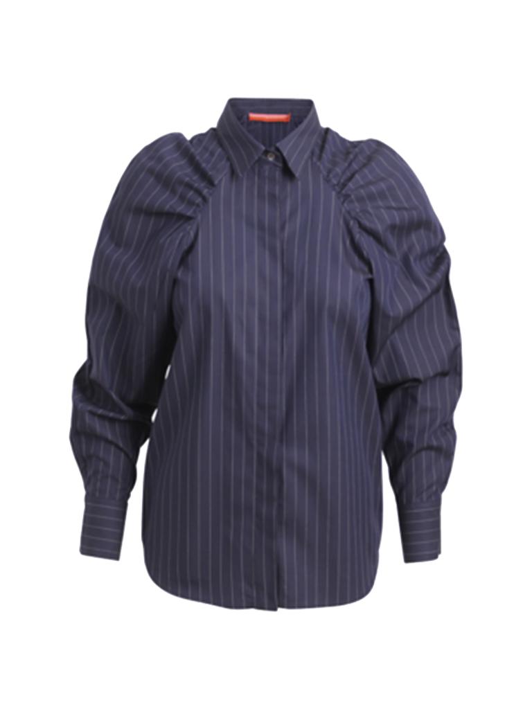 Britt Sisseck Britt Sisseck Felipa blouse met puffed sleeved gestreept donkerblauw