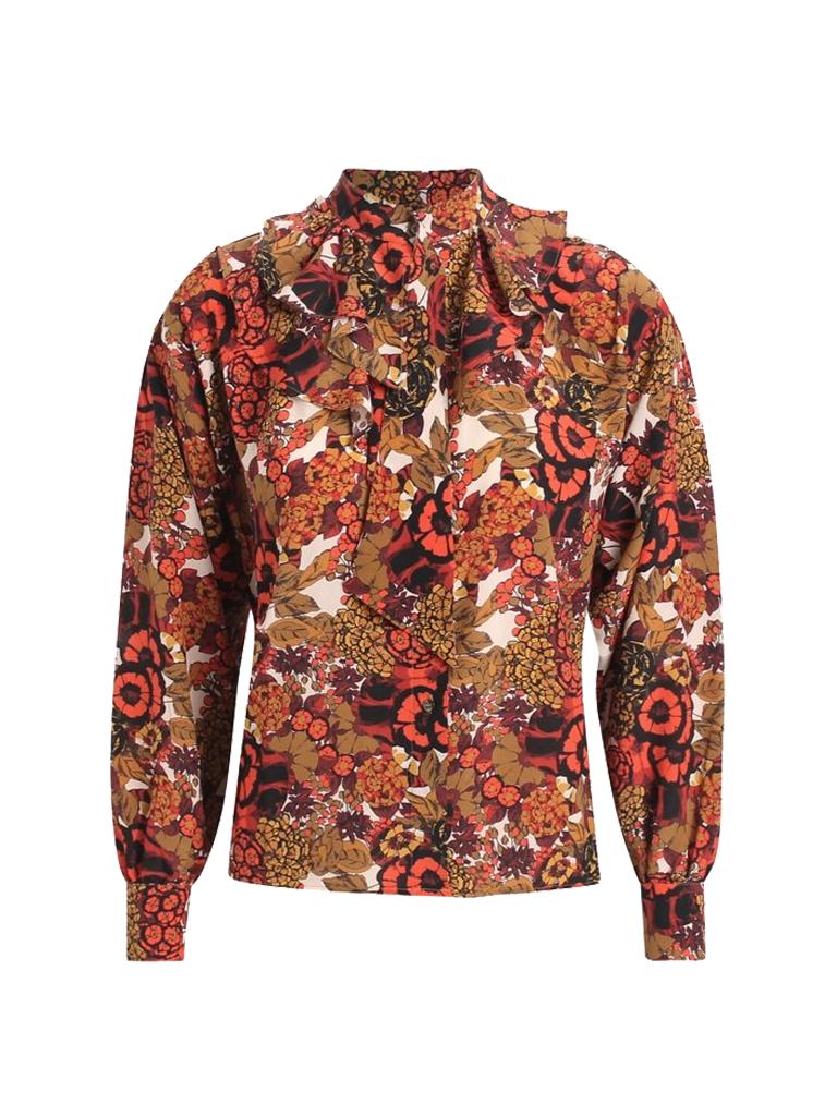Britt Sisseck Britt Sisseck Sarah blouse met ruffles en strik multicolor