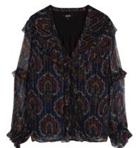 Alix the Label blouse met v-hals en volants paisley print