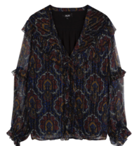 Alix the Label blouse with v-neck and flounced paisley print