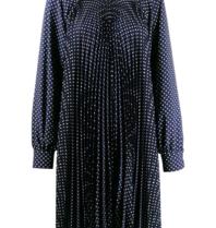 Erika Cavallini Erika Cavallini midi dress with plissé and dots dark blue