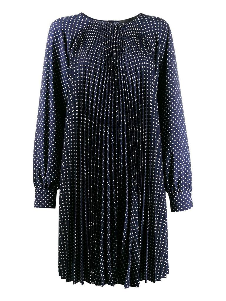 Erika Cavallini Erika Cavallini midi jurk met plissé en stippen donkerblauw