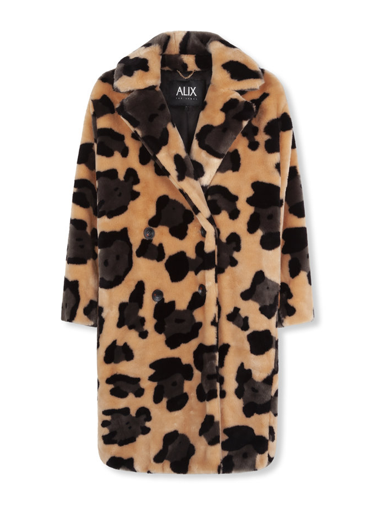Alix The Label Animal faux fur jacket with multicolored print