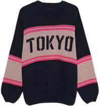 Paul x Claire striped knitted sweater with text black