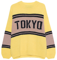 Paul x Claire striped knitted sweater with text yellow