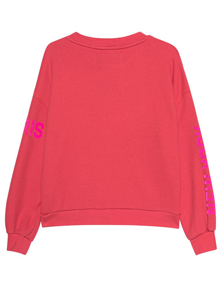 Paul x Claire sweater met tekst rood