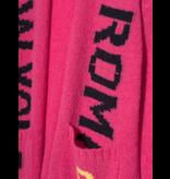 Paul x Claire gebreid vest met tekst roze