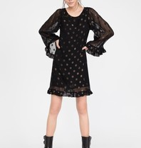 Semicouture midi dress with wide sleeves flounces and dot details black
