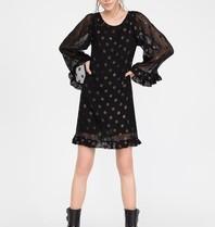 Semicouture Semicouture midi jurk met wijde mouwen volants en stippen details zwart