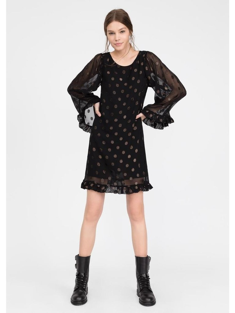 Semicouture Semicouture midi dress with wide sleeves flounces and dot details black