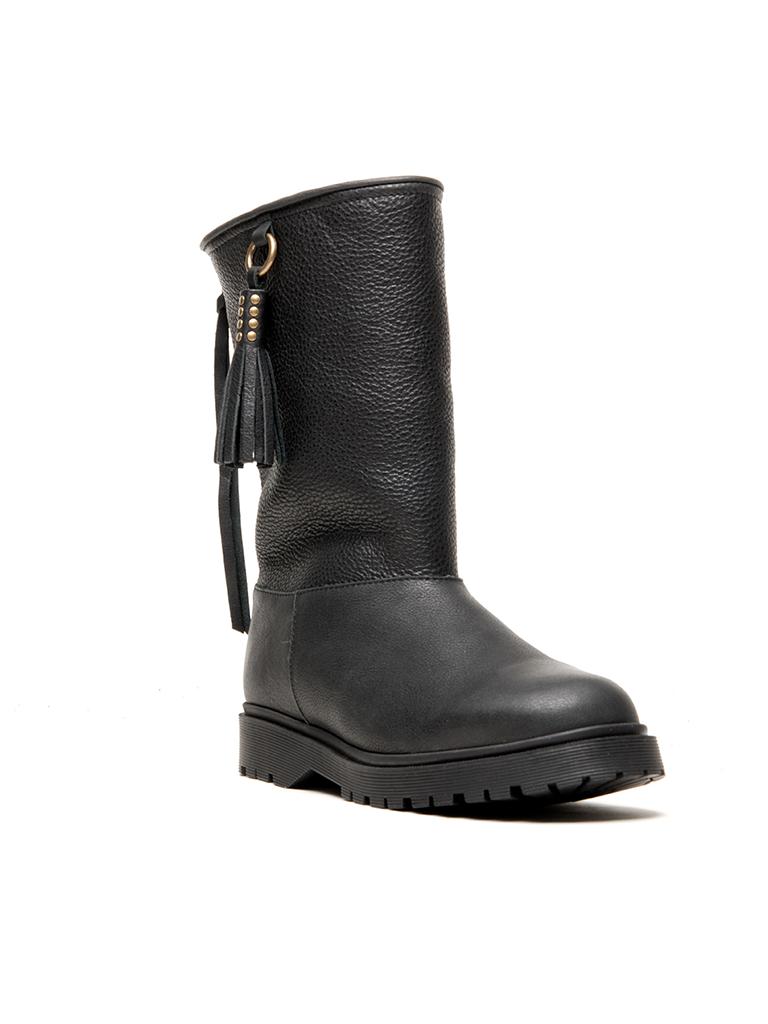 CHA klassische hohe Stiefel schwarz