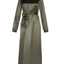 Acide Sophie midi dress with satin green belt