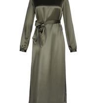 Acide Sophie midi jurk met ceintuur satijn groen