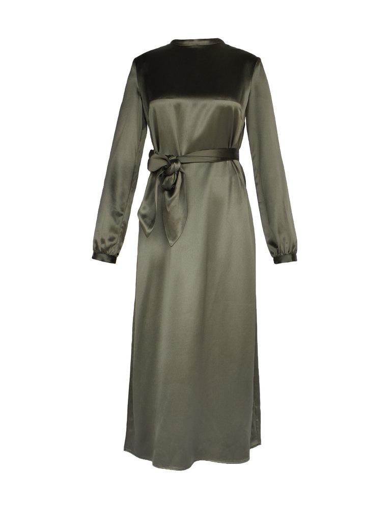 Acide Acide Sophie midi jurk met ceintuur satijn groen