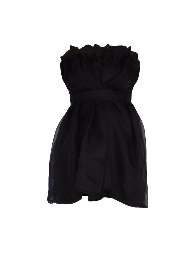 Acide Arya strapless dress with black bow