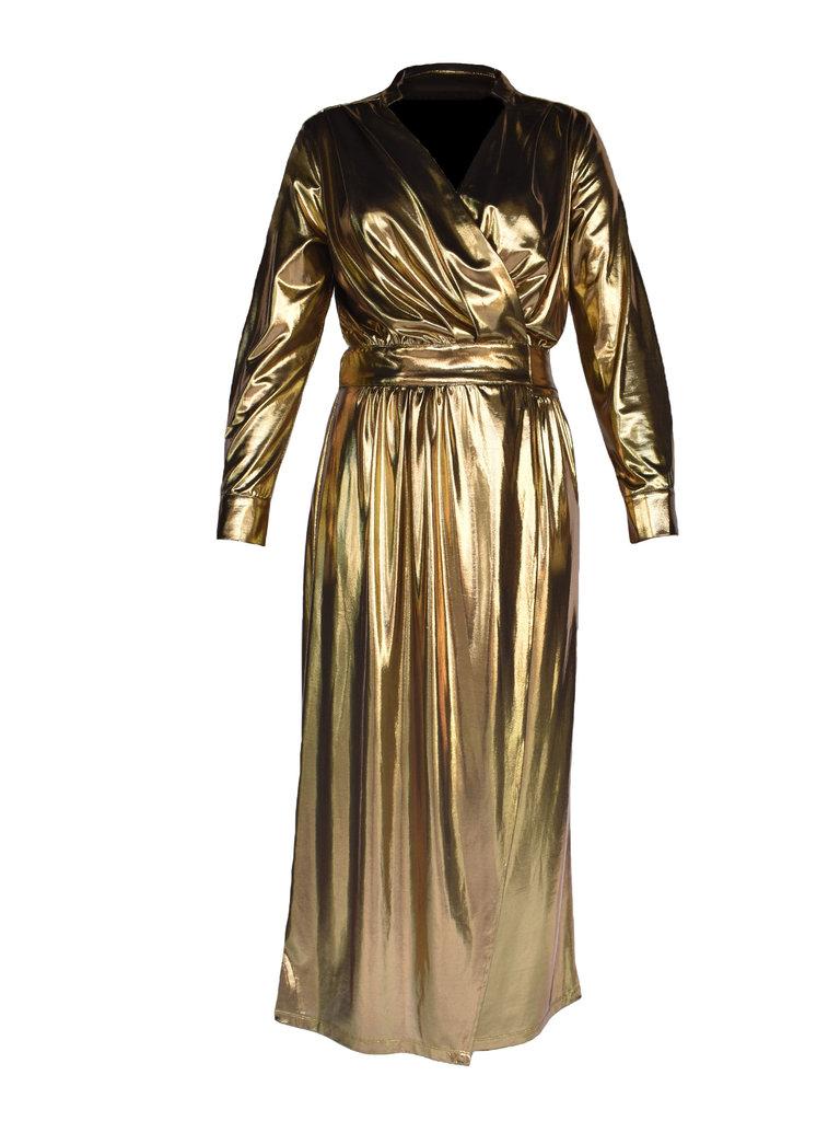 Acide Acide Vivian wrap jurk goud
