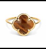 Morganne Bello ring met tiger eye klaver steen geelgoud