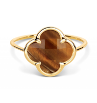 Morganne Bello ring with tiger eye clover stone yellow gold
