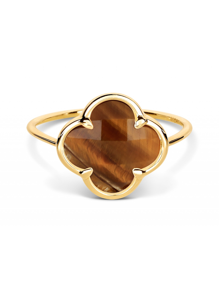 Morganne Bello Morganne Bello ring with tiger eye clover stone yellow gold