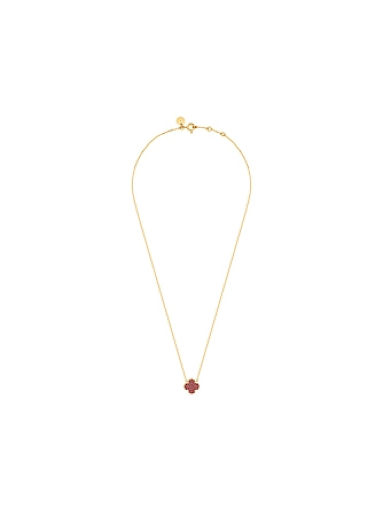 Morganne Bello necklace with clover stone ruby yellow gold