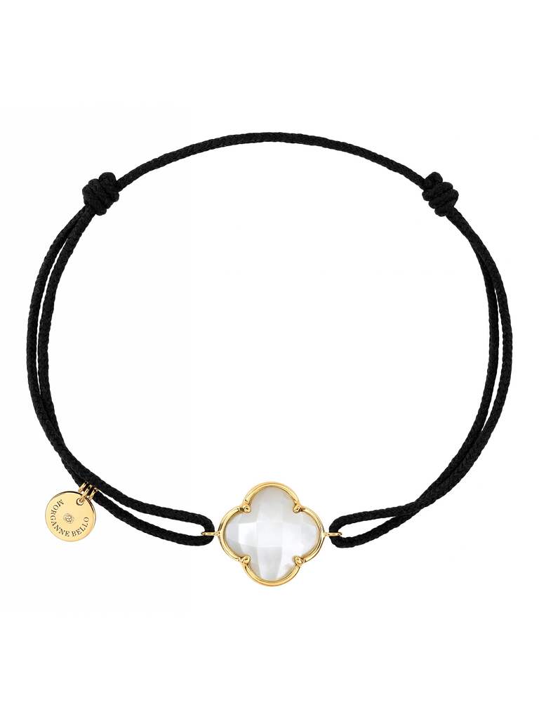 Morganne Bello cord bracelet with mother-of-pearl clover stone yellow gold black
