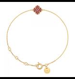 Morganne Bello armband met klaversteen robijn geelgoud
