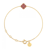 Morganne Bello bracelet with clover stone ruby yellow gold