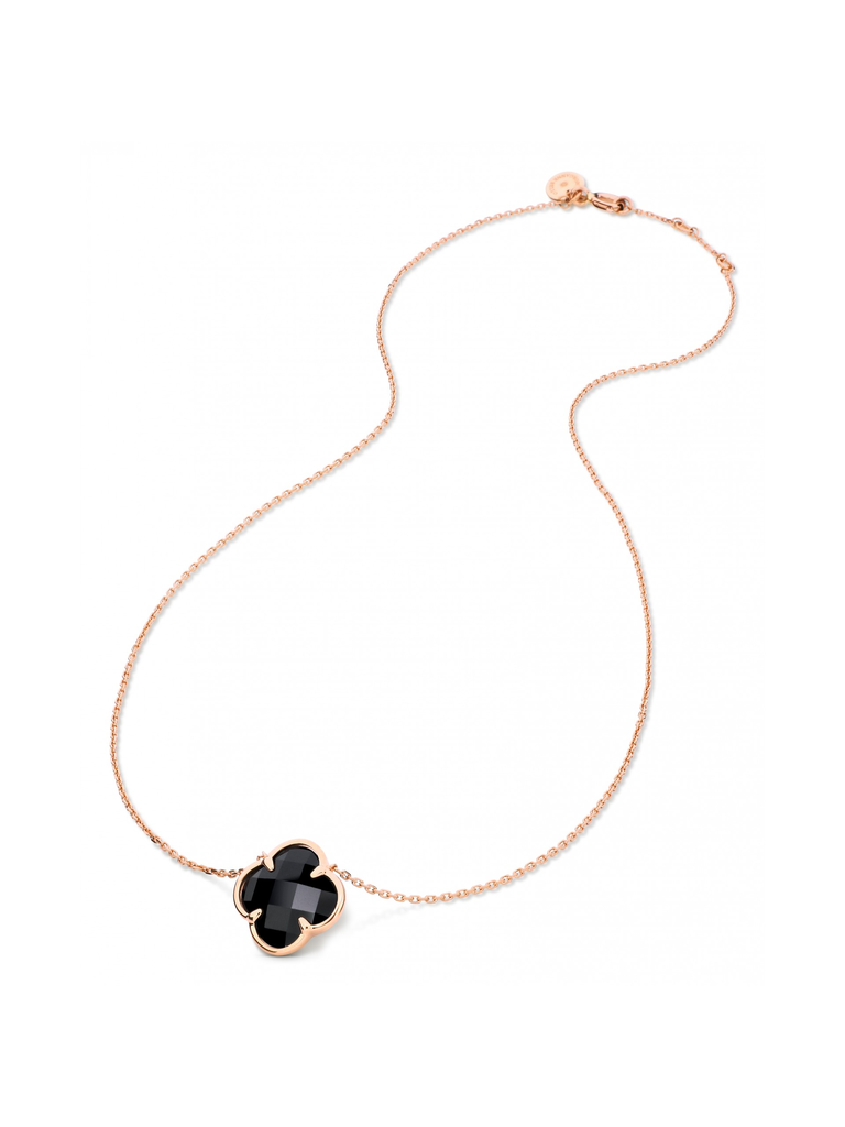 Morganne Bello necklace with clover stone onyx rose gold