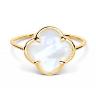 Morganne Bello ring met parelmoer klaversteen geelgoud