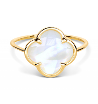 Morganne Bello ring with mother-of-pearl clover stone yellow gold