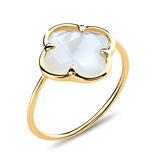 Morganne Bello Morganne Bello ring with mother-of-pearl clover stone yellow gold